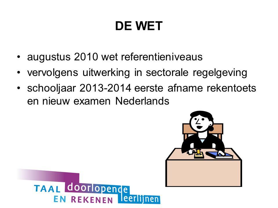 DE WET augustus 2010 wet referentieniveaus vervolgens uitwerking in sectorale regelgeving schooljaar 2013-2014 eerste afname rekentoets en nieuw examen Nederlands