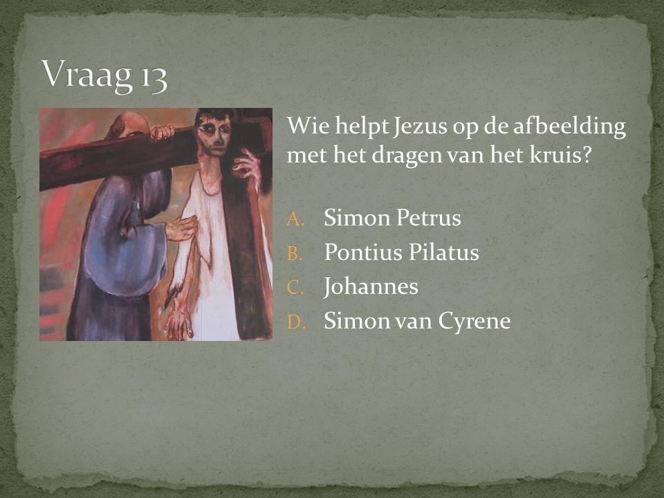 Wie helpt Jezus op de afbeelding met het dragen van het kruis.