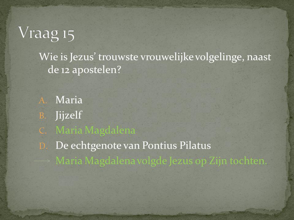 Wie is Jezus' trouwste vrouwelijke volgelinge, naast de 12 apostelen.