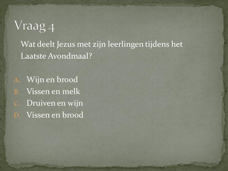 Wat deelt Jezus met zijn leerlingen tijdens het Laatste Avondmaal.