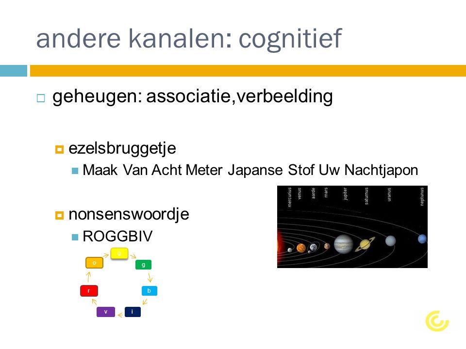 andere kanalen: cognitief  geheugen: associatie,verbeelding  ezelsbruggetje Maak Van Acht Meter Japanse Stof Uw Nachtjapon  nonsenswoordje ROGGBIV ggb i v ro