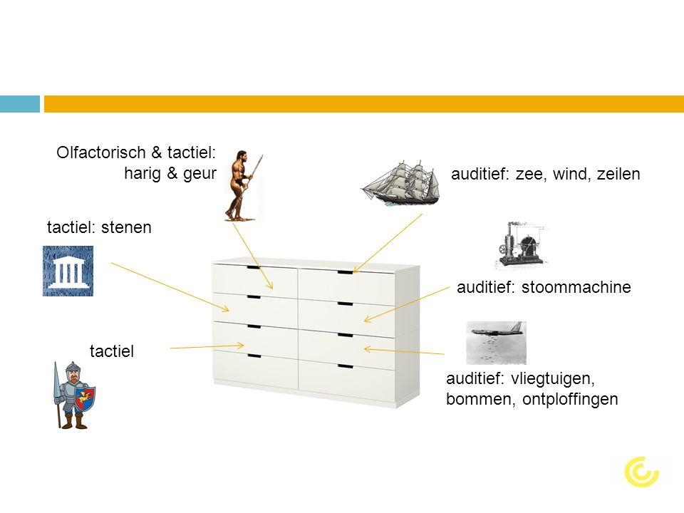 auditief: zee, wind, zeilen auditief: stoommachine auditief: vliegtuigen, bommen, ontploffingen tactiel: stenen Olfactorisch & tactiel: harig & geur tactiel