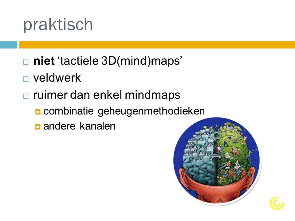 praktisch  niet 'tactiele 3D(mind)maps'  veldwerk  ruimer dan enkel mindmaps  combinatie geheugenmethodieken  andere kanalen
