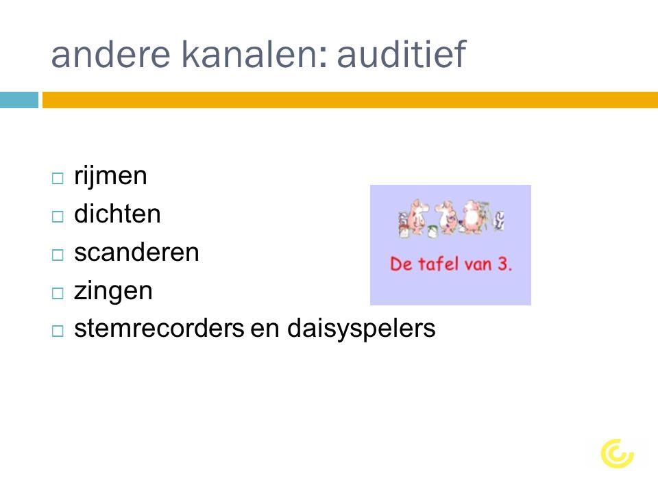 andere kanalen: auditief  rijmen  dichten  scanderen  zingen  stemrecorders en daisyspelers
