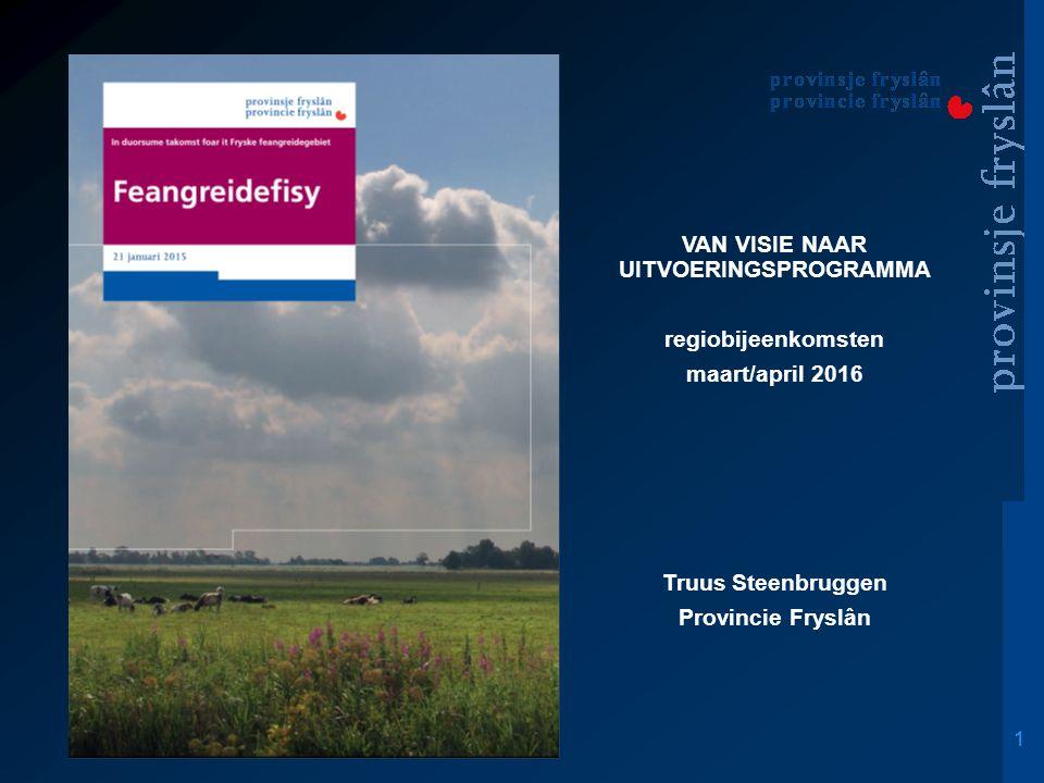 1 VAN VISIE NAAR UITVOERINGSPROGRAMMA regiobijeenkomsten maart/april 2016 Truus Steenbruggen Provincie Fryslân