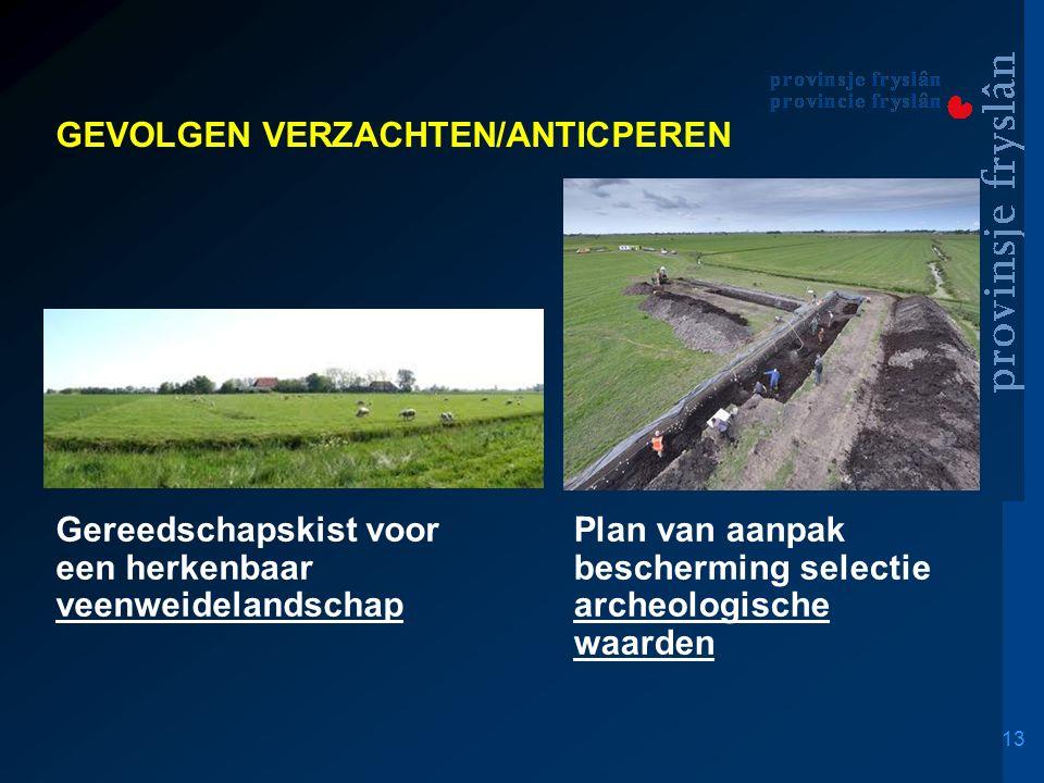 13 GEVOLGEN VERZACHTEN/ANTICPEREN Voorstel voor veiligstelling grondwater/drinkwatervoorziening Gereedschapskist voor een herkenbaar veenweidelandschap Plan van aanpak bescherming selectie van archeologische waarden Plan van aanpak bescherming selectie archeologische waarden