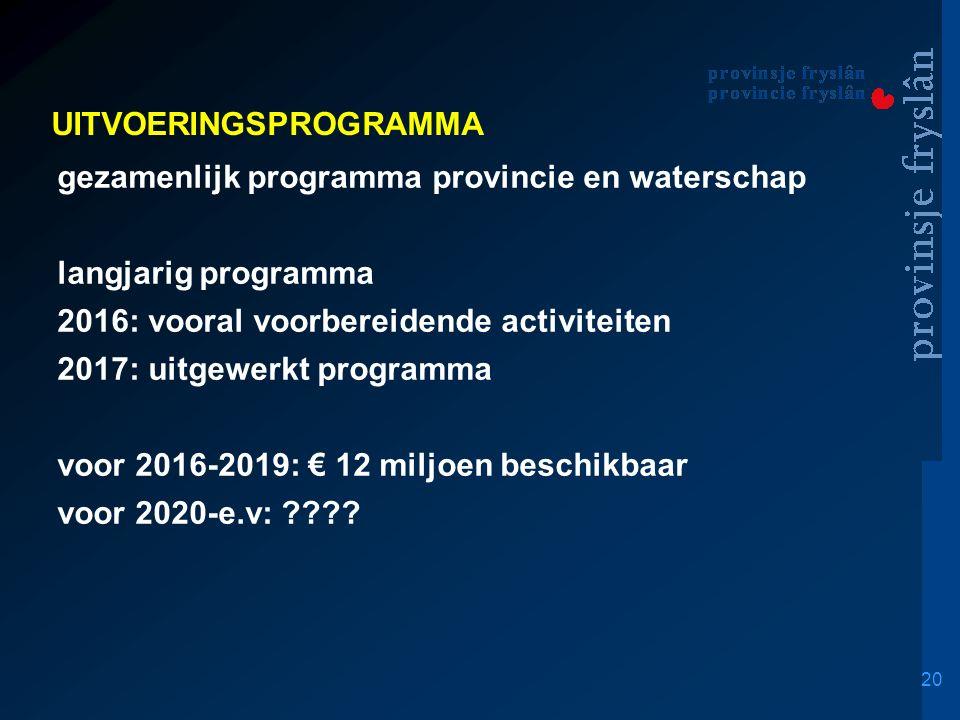 20 UITVOERINGSPROGRAMMA gezamenlijk programma provincie en waterschap langjarig programma 2016: vooral voorbereidende activiteiten 2017: uitgewerkt programma voor 2016-2019: € 12 miljoen beschikbaar voor 2020-e.v: