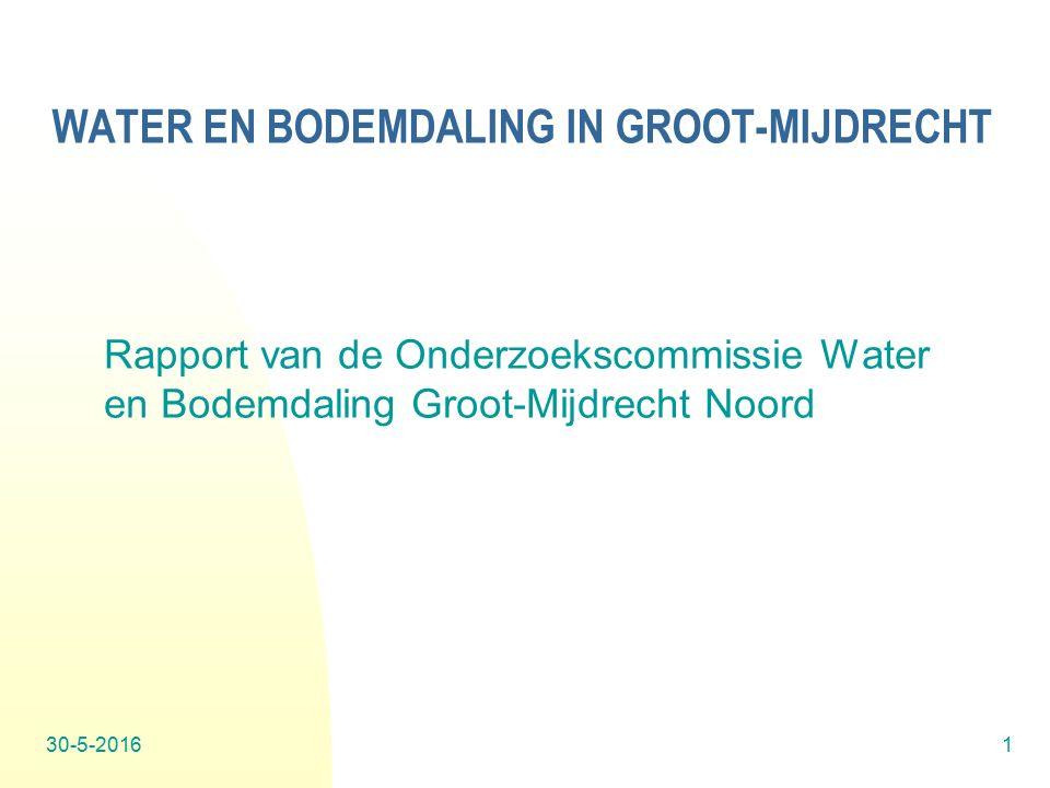 30-5-20161 WATER EN BODEMDALING IN GROOT-MIJDRECHT Rapport van de Onderzoekscommissie Water en Bodemdaling Groot-Mijdrecht Noord