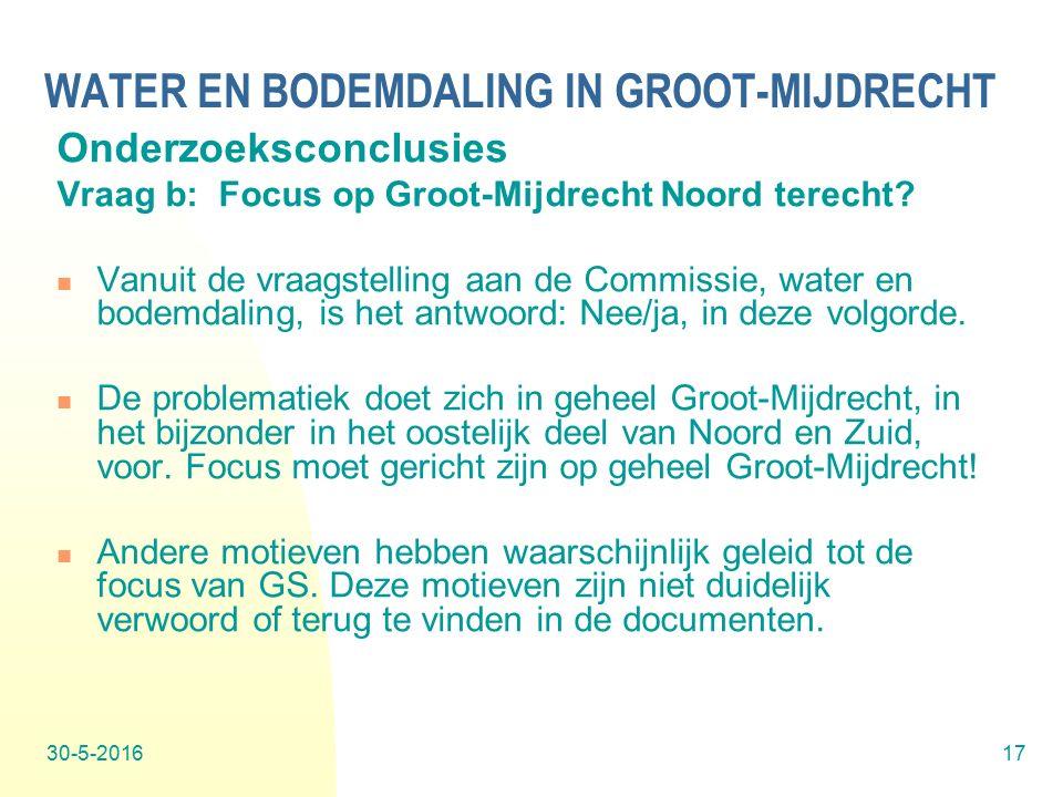 30-5-201617 WATER EN BODEMDALING IN GROOT-MIJDRECHT Onderzoeksconclusies Vraag b: Focus op Groot-Mijdrecht Noord terecht.