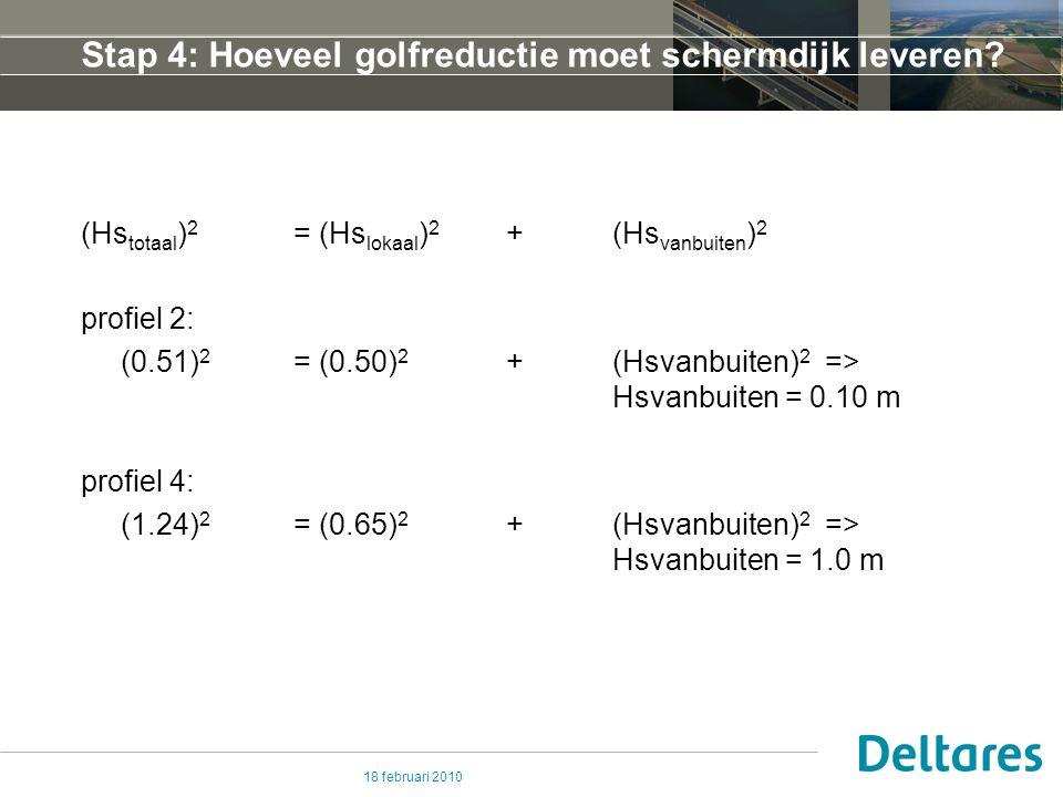 18 februari 2010 Stap 4: Hoeveel golfreductie moet schermdijk leveren.