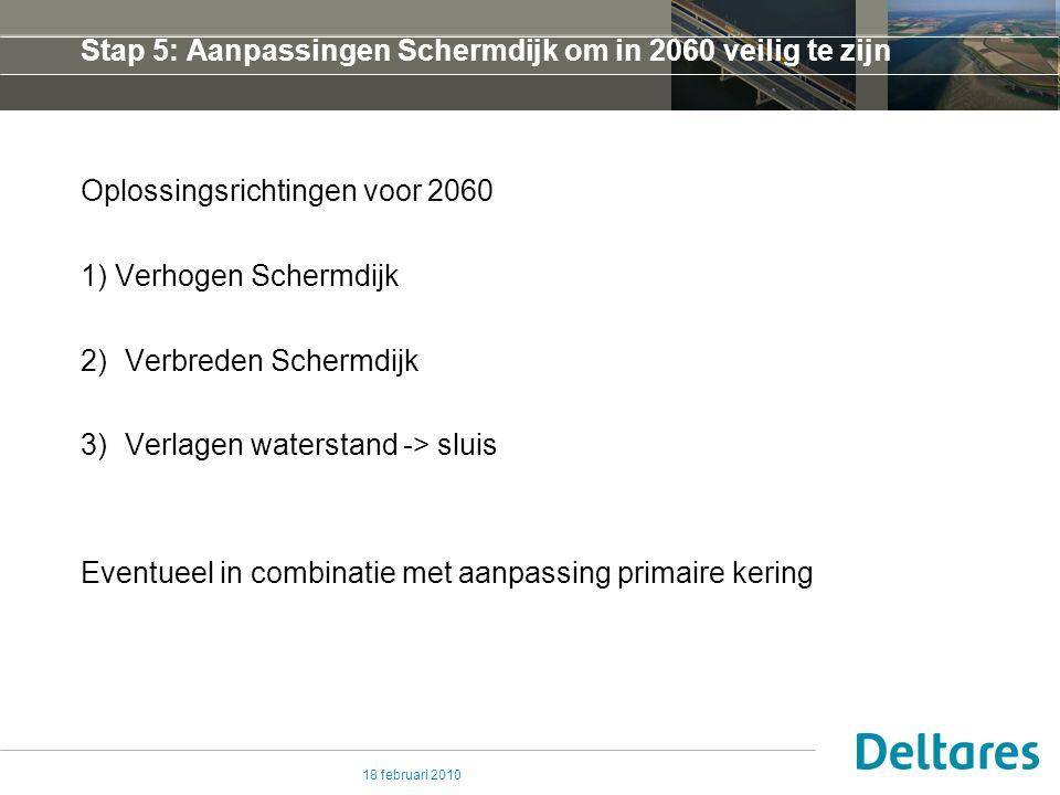 18 februari 2010 Stap 5 (1) Verhogen Schermdijk Profiel 0 Profiel 4 Profiel 2 Bijvoorbeeld NAP + 7.15 (+ bodemdaling!) en helling ca.
