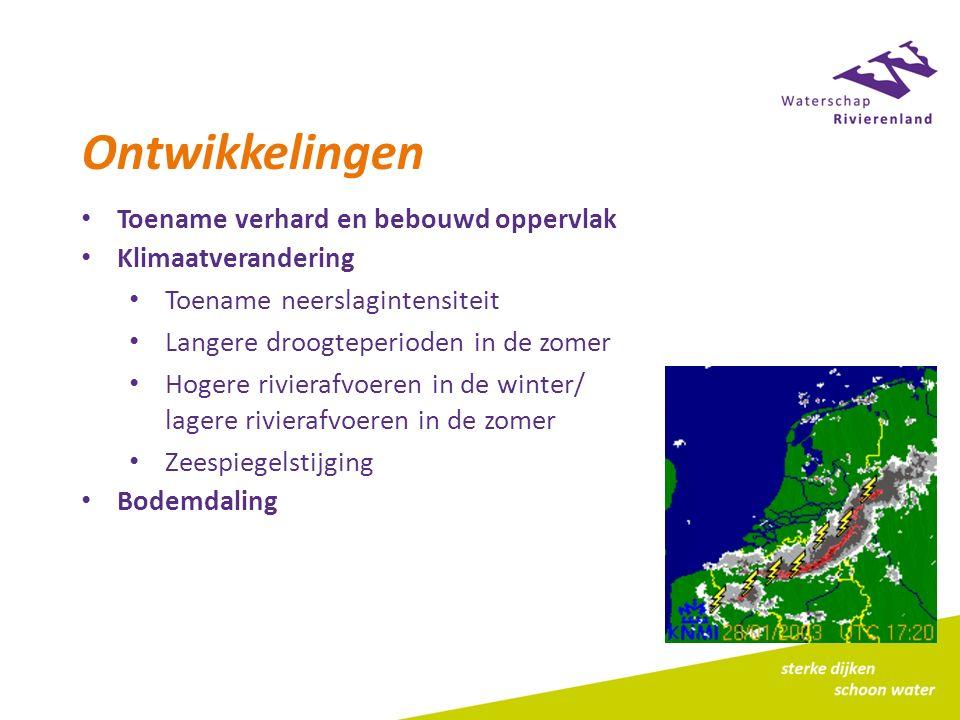 Ontwikkelingen Toename verhard en bebouwd oppervlak Klimaatverandering Toename neerslagintensiteit Langere droogteperioden in de zomer Hogere rivierafvoeren in de winter/ lagere rivierafvoeren in de zomer Zeespiegelstijging Bodemdaling