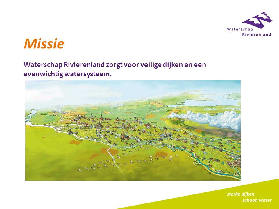 Missie Waterschap Rivierenland zorgt voor veilige dijken en een evenwichtig watersysteem.