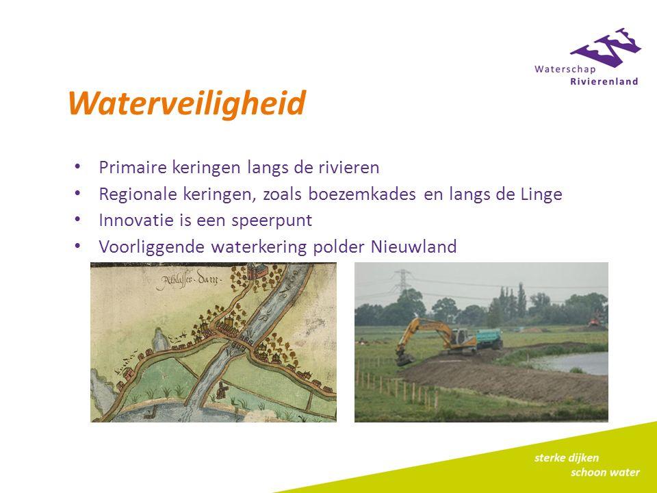 Ruimtelijke ordening Structuurvisies en bestemmingplannen Digitale Watertoets Waterbeheerprogramma Regionale aanpak: waterkeringen (boezemkades, primaire waterkering) Regionale aanpak: watersysteem en waterketen (visie Kansen voor water en klimaatadaptatie AV, samenwerking waterketen)