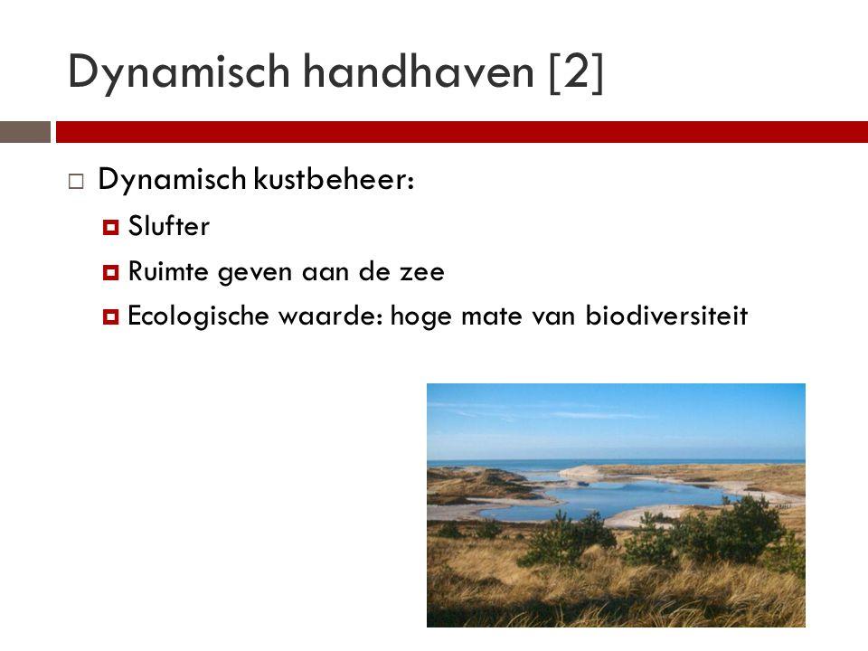 Dynamisch handhaven [2]  Dynamisch kustbeheer:  Slufter  Ruimte geven aan de zee  Ecologische waarde: hoge mate van biodiversiteit