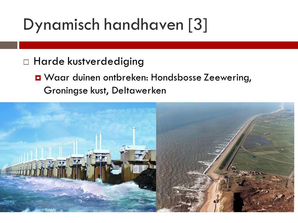 Dynamisch handhaven [3]  Harde kustverdediging  Waar duinen ontbreken: Hondsbosse Zeewering, Groningse kust, Deltawerken