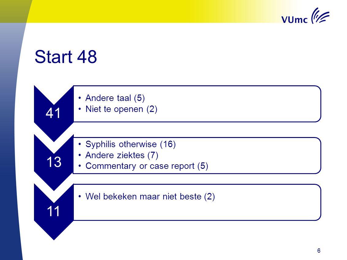 Start 48 41 Andere taal (5) Niet te openen (2) 13 Syphilis otherwise (16) Andere ziektes (7) Commentary or case report (5) 11 Wel bekeken maar niet be