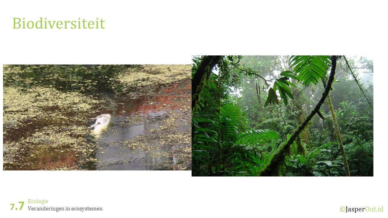 Ecologie 7.7 ©JasperOut.nl Veranderingen in ecosystemen Biodiversiteit