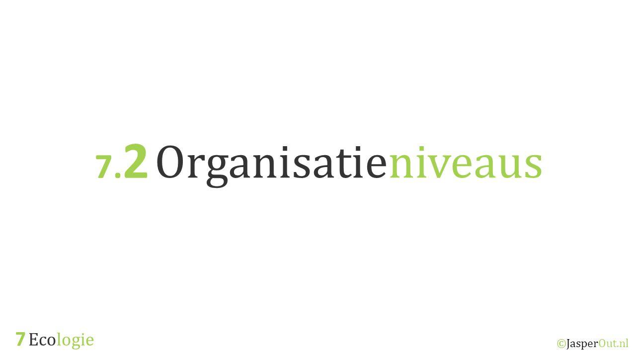 Ecologie 7.2 ©JasperOut.nl Organisatieniveaus Organisatie niveaus Binnen de ecologie wordt naar een aantal organisatieniveaus uit de biologie gekeken.