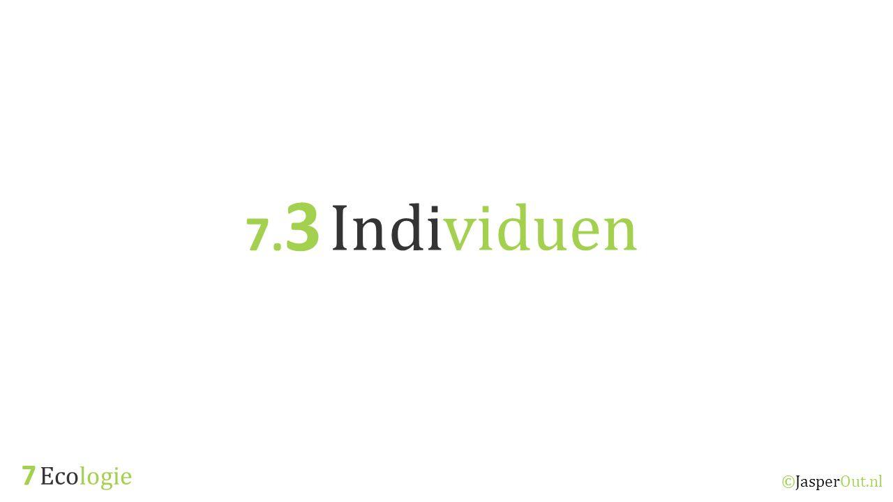 Ecologie 7.3 ©JasperOut.nl Individuen Tolerantie Tolerantiegebied; uiterste waarde van een abiotische factor waarbinnen een organisme kan overleven.