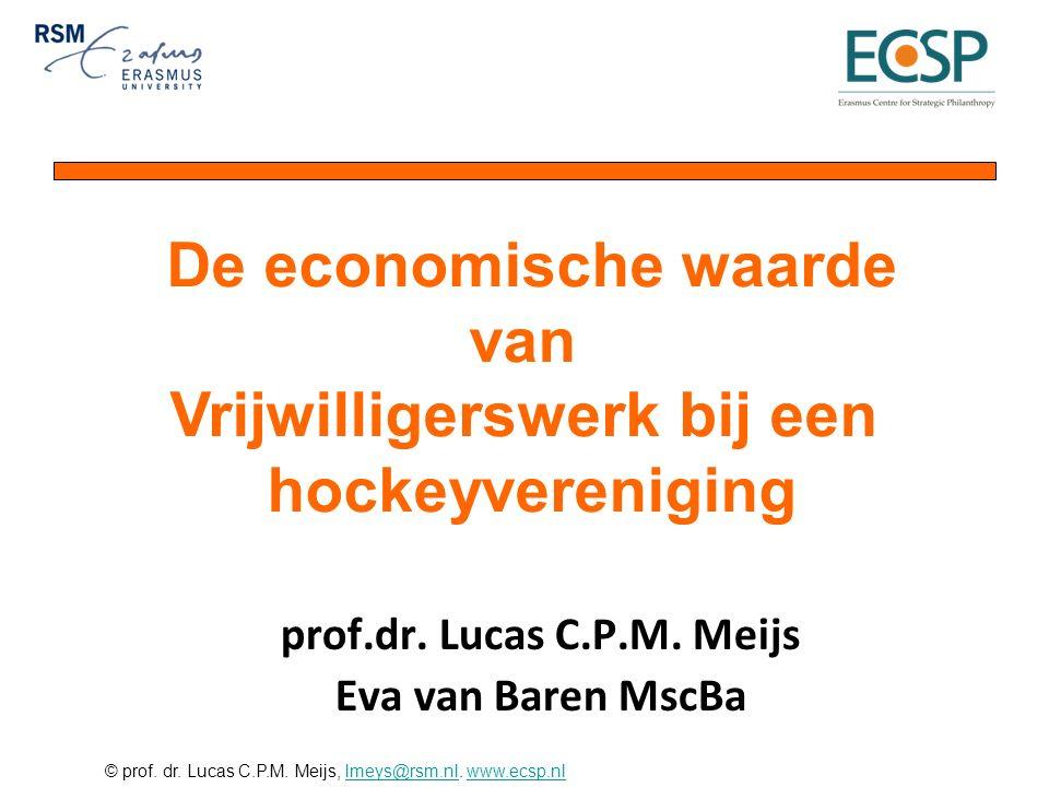 © prof. dr. Lucas C.P.M. Meijs, lmeys@rsm.nl. www.ecsp.nllmeys@rsm.nlwww.ecsp.nl prof.dr. Lucas C.P.M. Meijs Eva van Baren MscBa De economische waarde