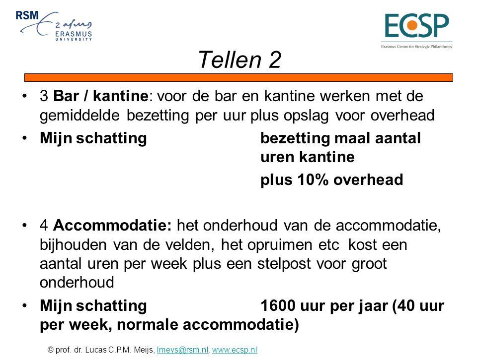© prof. dr. Lucas C.P.M. Meijs, lmeys@rsm.nl. www.ecsp.nllmeys@rsm.nlwww.ecsp.nl Tellen 2 3 Bar / kantine: voor de bar en kantine werken met de gemidd