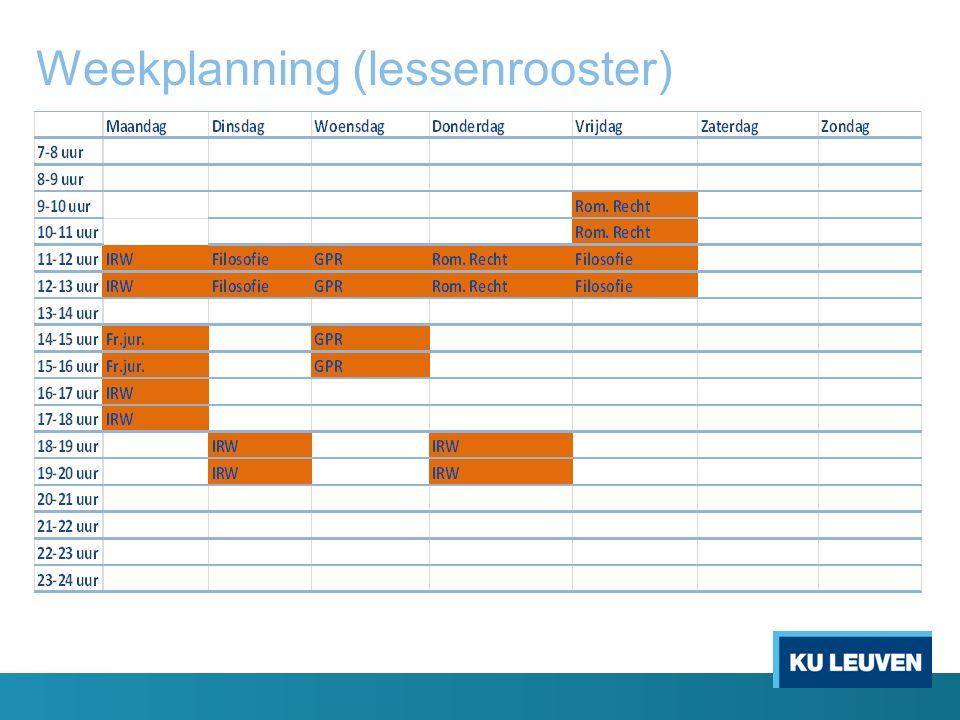 Weekplanning (lessenrooster)