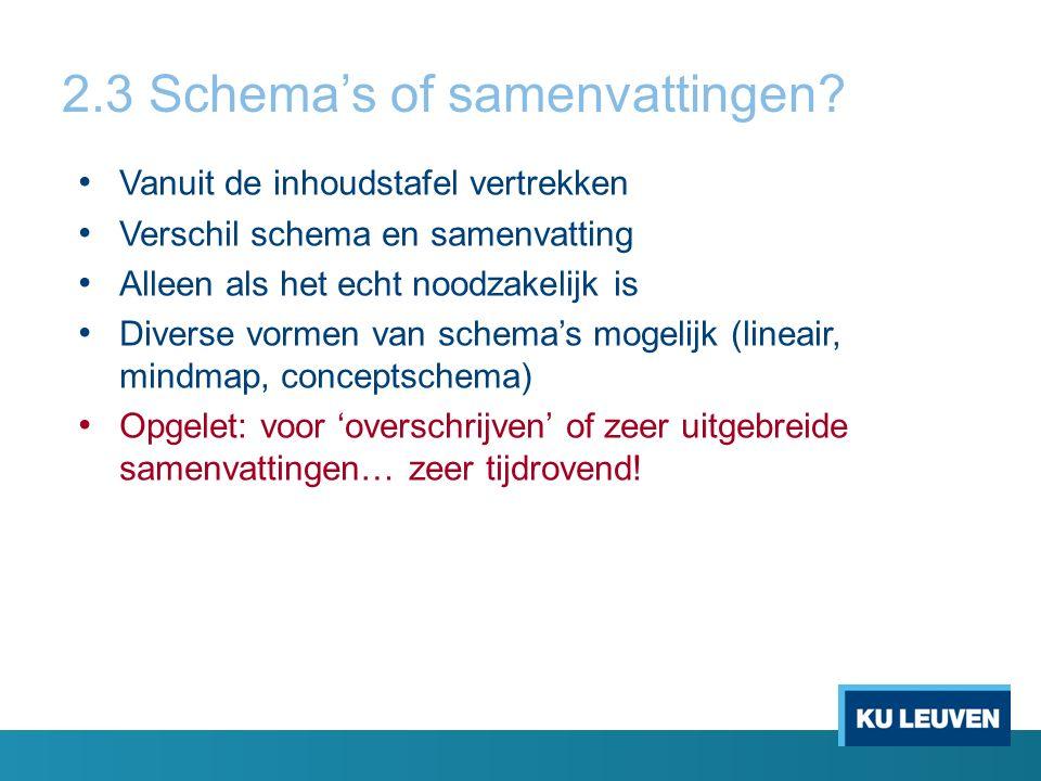 2.3 Schema's of samenvattingen.