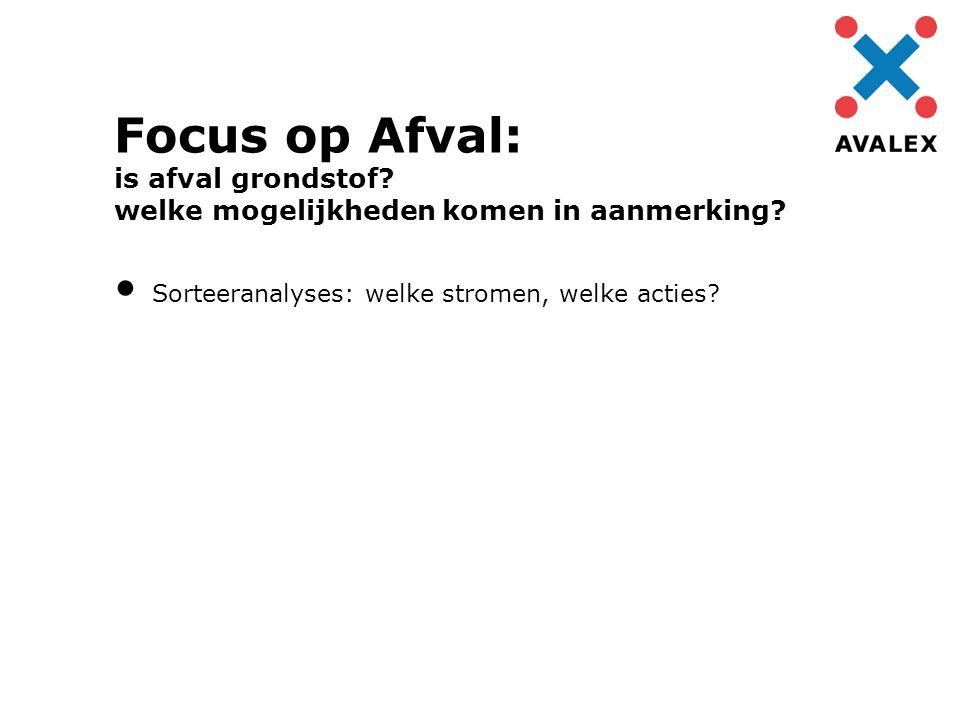Focus op Afval: is afval grondstof? welke mogelijkheden komen in aanmerking? Sorteeranalyses: welke stromen, welke acties?