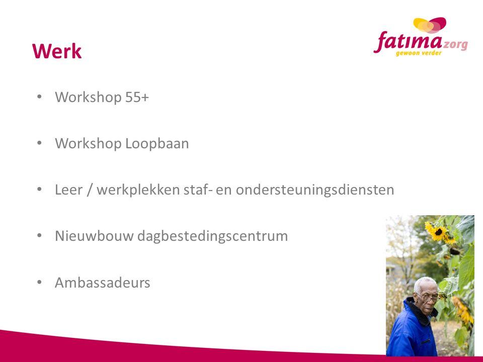 Werk Workshop 55+ Workshop Loopbaan Leer / werkplekken staf- en ondersteuningsdiensten Nieuwbouw dagbestedingscentrum Ambassadeurs