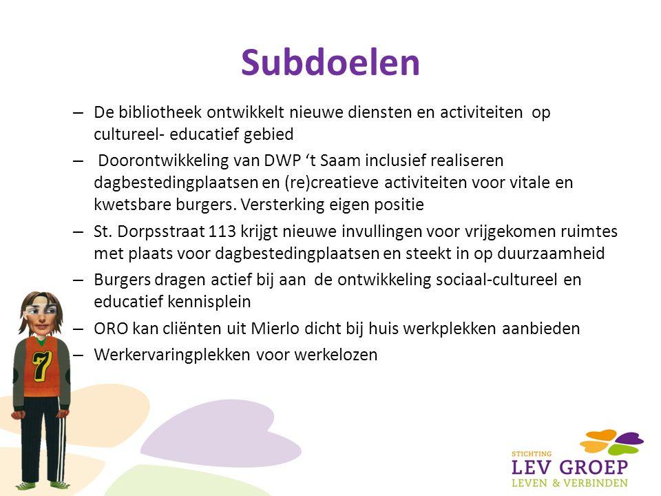 Subdoelen – De bibliotheek ontwikkelt nieuwe diensten en activiteiten op cultureel- educatief gebied – Doorontwikkeling van DWP 't Saam inclusief realiseren dagbestedingplaatsen en (re)creatieve activiteiten voor vitale en kwetsbare burgers.