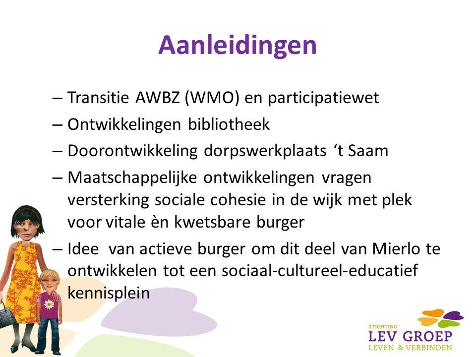 Aanleidingen – Transitie AWBZ (WMO) en participatiewet – Ontwikkelingen bibliotheek – Doorontwikkeling dorpswerkplaats 't Saam – Maatschappelijke ontwikkelingen vragen versterking sociale cohesie in de wijk met plek voor vitale èn kwetsbare burger – Idee van actieve burger om dit deel van Mierlo te ontwikkelen tot een sociaal-cultureel-educatief kennisplein