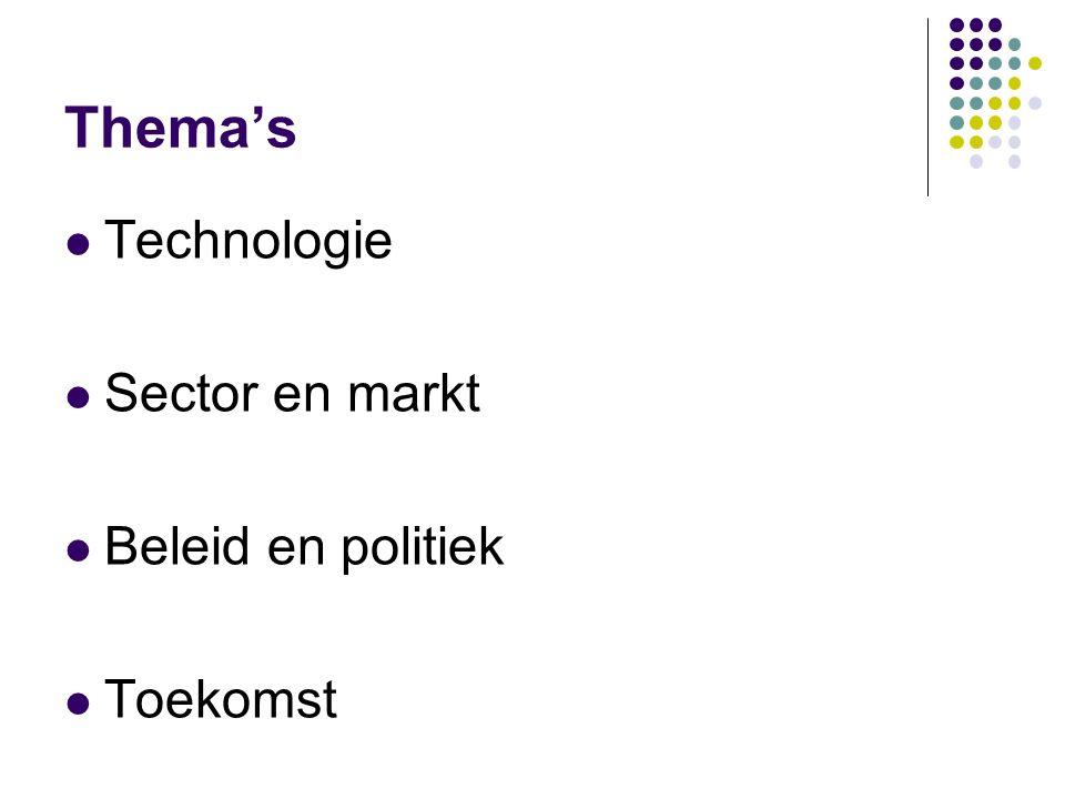 Thema's Technologie Sector en markt Beleid en politiek Toekomst