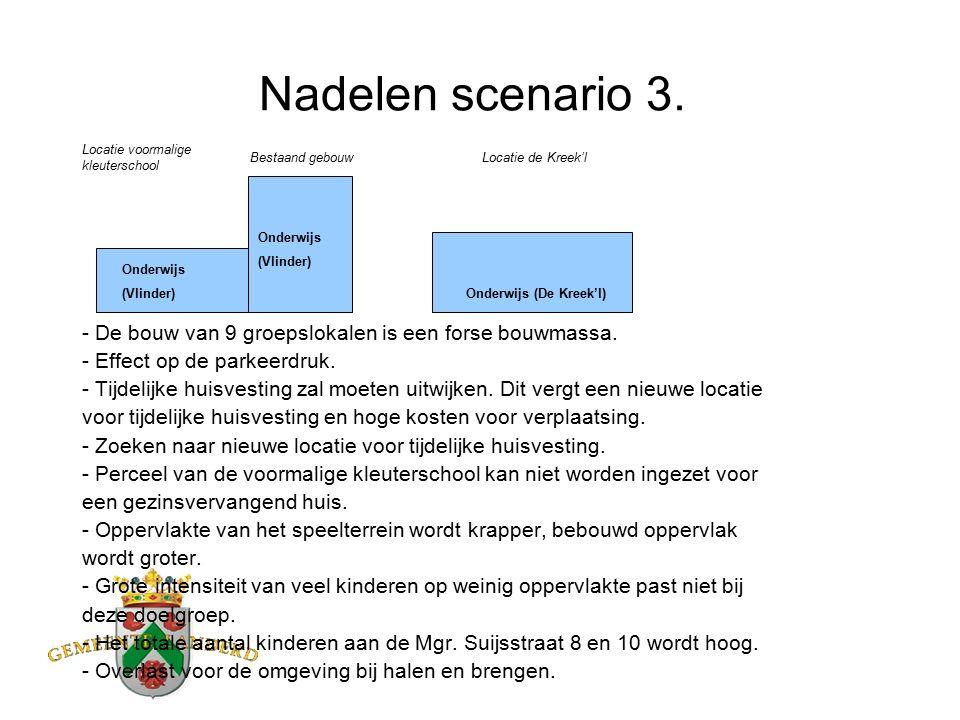 Nadelen scenario 3. - De bouw van 9 groepslokalen is een forse bouwmassa.