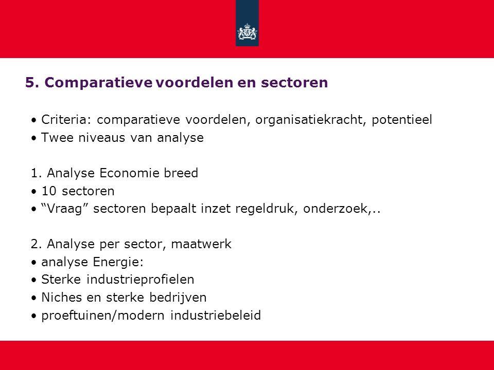 5. Comparatieve voordelen en sectoren Criteria: comparatieve voordelen, organisatiekracht, potentieel Twee niveaus van analyse 1. Analyse Economie bre