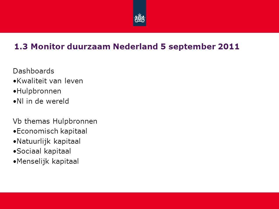 1.3 Monitor duurzaam Nederland 5 september 2011 Dashboards Kwaliteit van leven Hulpbronnen Nl in de wereld Vb themas Hulpbronnen Economisch kapitaal N