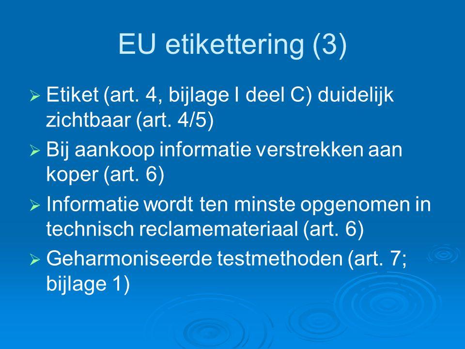 EU etikettering (3)   Etiket (art. 4, bijlage I deel C) duidelijk zichtbaar (art.