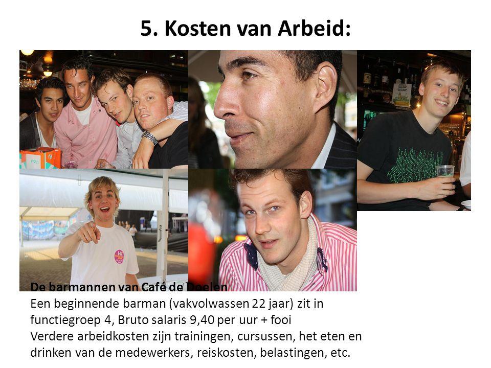 5. Kosten van Arbeid: De barmannen van Café de Doelen Een beginnende barman (vakvolwassen 22 jaar) zit in functiegroep 4, Bruto salaris 9,40 per uur +