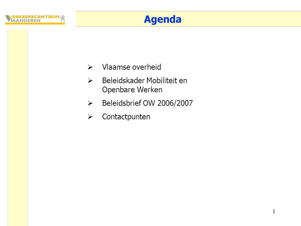 1 Agenda  Vlaamse overheid  Beleidskader Mobiliteit en Openbare Werken  Beleidsbrief OW 2006/2007  Contactpunten