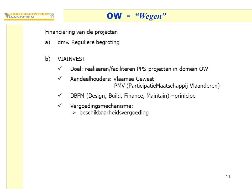 """11 OW - """"Wegen"""" Financiering van de projecten a)dmv. Reguliere begroting b)VIAINVEST Doel: realiseren/faciliteren PPS-projecten in domein OW Aandeelho"""