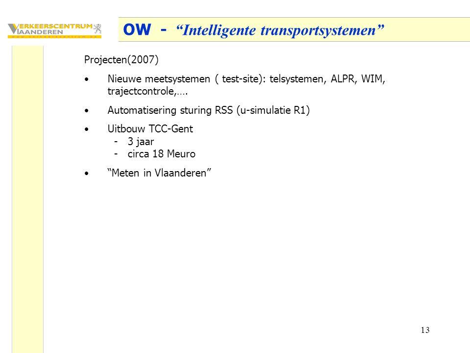 13 OW - Intelligente transportsystemen Projecten(2007) Nieuwe meetsystemen ( test-site): telsystemen, ALPR, WIM, trajectcontrole,….