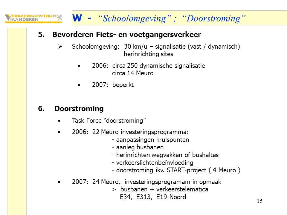 15 OW - Schoolomgeving ; Doorstroming 5.Bevorderen Fiets- en voetgangersverkeer  Schoolomgeving: 30 km/u – signalisatie (vast / dynamisch) herinrichting sites 2006: circa 250 dynamische signalisatie circa 14 Meuro 2007: beperkt 6.
