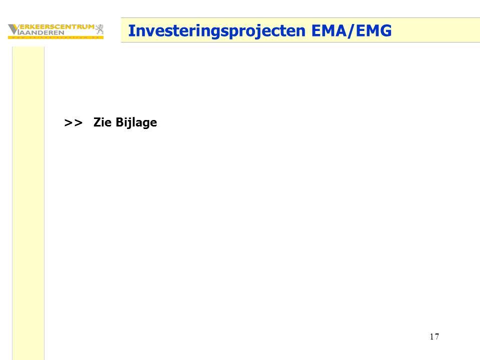 17 Investeringsprojecten EMA/EMG >> Zie Bijlage