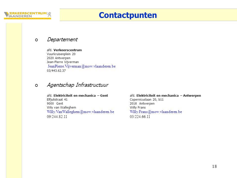 18 Contactpunten oDepartement afd. Verkeerscentrum Vuurkruisenplein 20 2020 Antwerpen Jean-Pierre Vijverman JeanPierre.Vijverman@mow.vlaanderen.be 03/