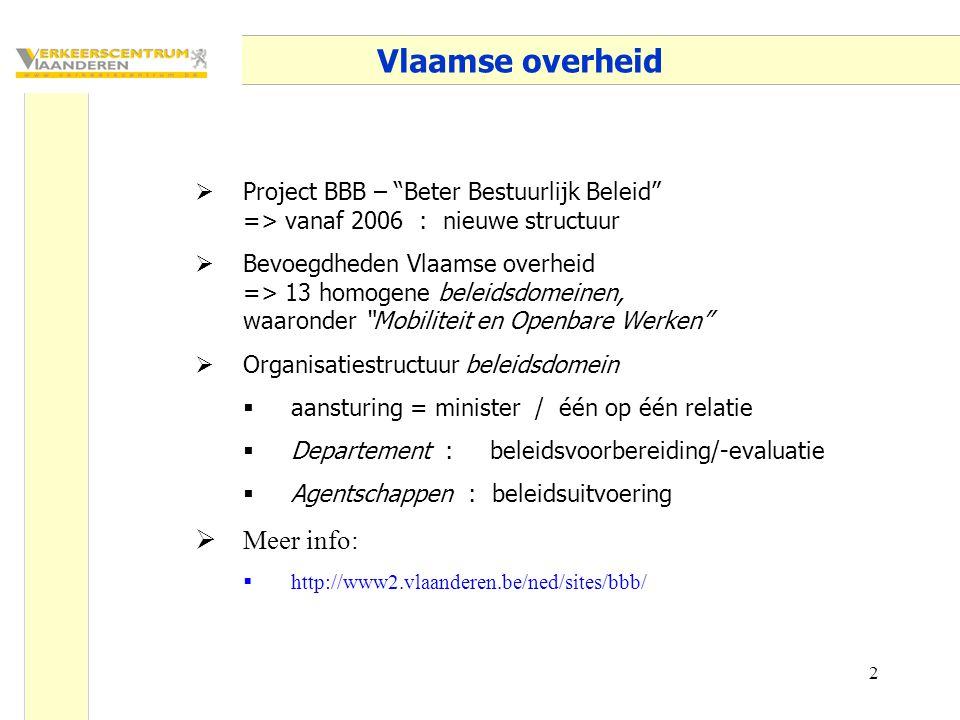 """2 Vlaamse overheid  Project BBB – """"Beter Bestuurlijk Beleid"""" => vanaf 2006 : nieuwe structuur  Bevoegdheden Vlaamse overheid => 13 homogene beleidsd"""