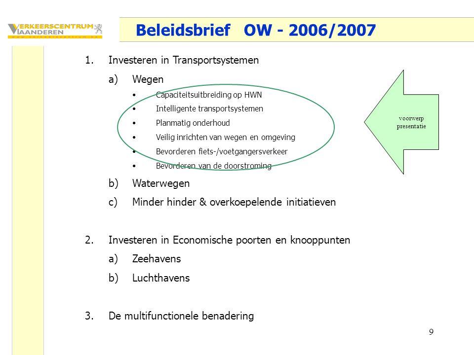 9 Beleidsbrief OW - 2006/2007 1.Investeren in Transportsystemen a)Wegen Capaciteitsuitbreiding op HWN Intelligente transportsystemen Planmatig onderhoud Veilig inrichten van wegen en omgeving Bevorderen fiets-/voetgangersverkeer Bevorderen van de doorstroming b)Waterwegen c)Minder hinder & overkoepelende initiatieven 2.Investeren in Economische poorten en knooppunten a)Zeehavens b)Luchthavens 3.De multifunctionele benadering voorwerp presentatie