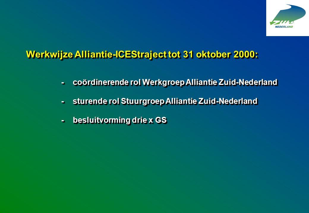 Werkwijze Alliantie-ICEStraject tot 31 oktober 2000: -coördinerende rol Werkgroep Alliantie Zuid-Nederland -sturende rol Stuurgroep Alliantie Zuid-Ned