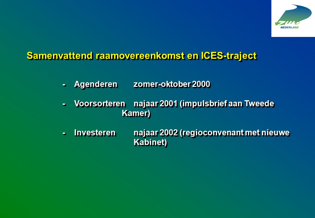 Samenvattend raamovereenkomst en ICES-traject -Agenderen zomer-oktober 2000 -Voorsorterennajaar 2001 (impulsbrief aan Tweede Kamer) -Investerennajaar