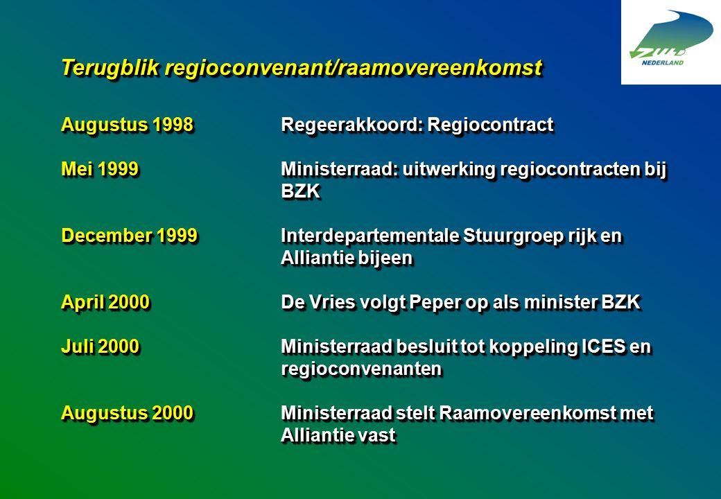 Augustus 1998Regeerakkoord: Regiocontract Mei 1999Ministerraad: uitwerking regiocontracten bij BZK December 1999 Interdepartementale Stuurgroep rijk e