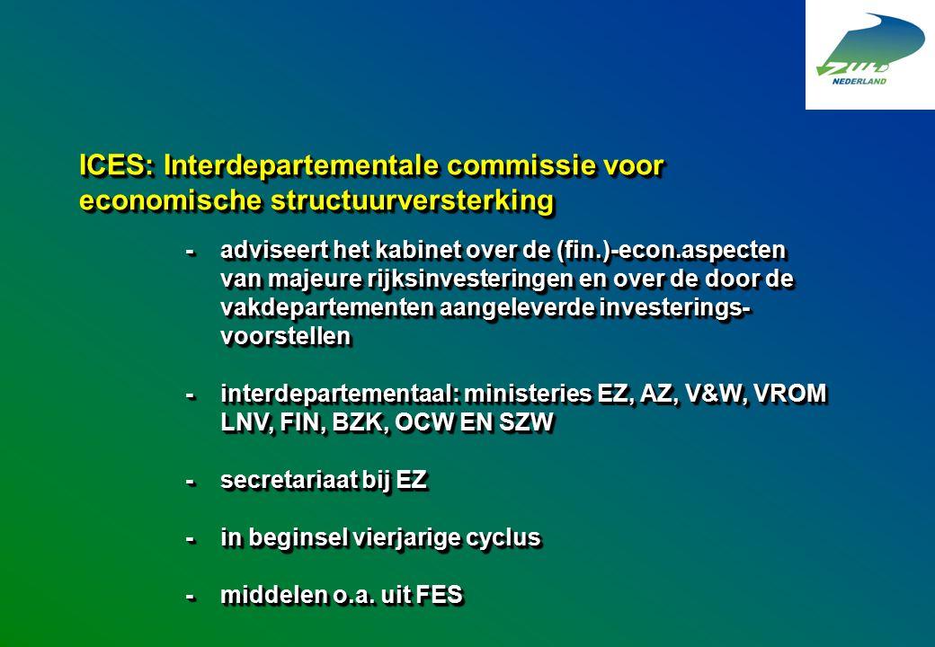 ICES: Interdepartementale commissie voor economische structuurversterking -adviseert het kabinet over de (fin.)-econ.aspecten van majeure rijksinveste